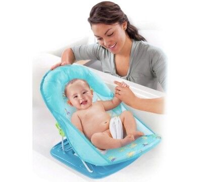 Summer Infant Deluxe Baby Bather Blue Bath Seat - Soft and Adjustable