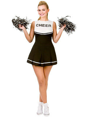 Ladies Black & White Cheerleader Fancy Dress Up Party Halloween Costume Outfit