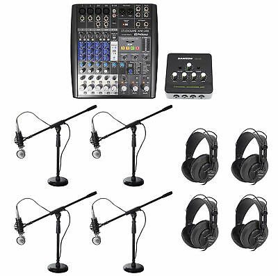 Presonus AR8 Podcast Studio Bundle w/Mics+Cables+Samson Headphones+Boom Stands