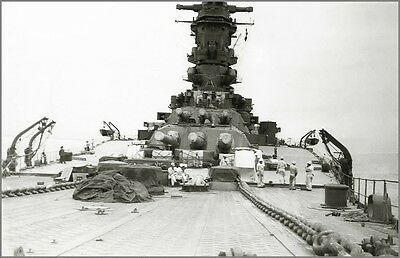 WWII B&W Photo IJN Battleship Musashi Deck View WW2 World War Two Japan  / 7055