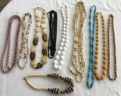 Lot Of 10 Vintage Costume Jewelry Necklaces - Beads & More - Free Shipping