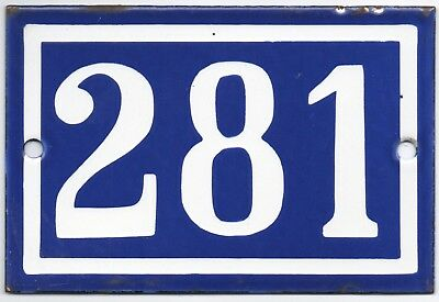 Old blue French house door number 281 door gate plate plaque enamel metal sign