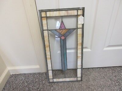 "VINTAGE antique stained glass window 12"" X 24"" 4 available mint condition  G-104"