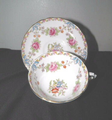 TUSCAN Tea Cup and Saucer Roses and Birds on White  Bone China Gold Trim England