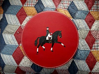 Dressage Horse  Red Hand Painted Faux Leather Letter Magazine Box Gift Treasure