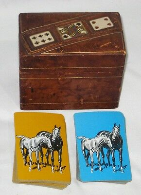 Vintage Leather & Wooden Double Playing Cards Box w/ 2 Sets Of Horse Cards USED