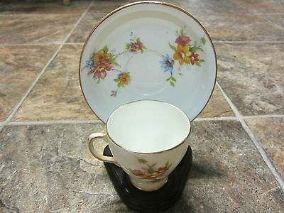 Sampson Smith Old Royal Bone China Tea Cup and Saucer, Multicolored Flowers