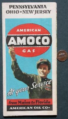 1930s Amoco Oil Gas service station Pennsylvania-Ohio-New Jersey road map-NICE!