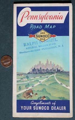 1930s Sunoco Oil Gas service station Pennsylvania road map-Pensauken,New Jersey!
