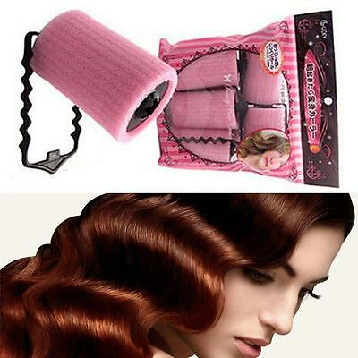 Popular Pink Magic Foam Roller Sponge Hair Styling Soft Curler Twist DIY Tool MT