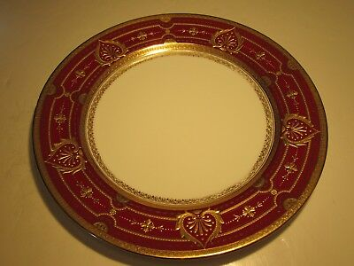 Stunning Old Minton Co. England Red With Gold Thick Border Decorated Plate
