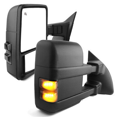 For 07-13 Silverado Sierra Power+Heated+Smoke LED Signal Tow Mirrors