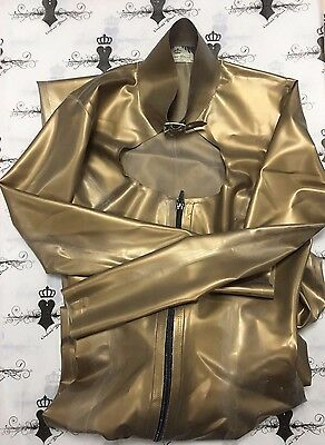 R0475 Rubber Latex CATSUIT BUCKLE NECK *GOLD* 8 UK Slight SECONDS RRP £309.35