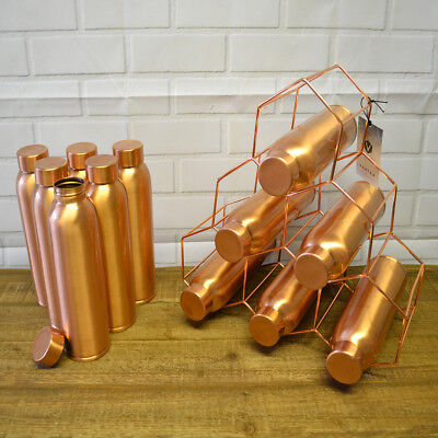 Indian Pure Copper Drinking Bottles With Lid 950ml Water Flask Travels Pitchers