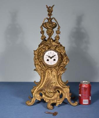 *Large Antique French Louis XV Rococo Bronze Clock -Complete But Does Not Run