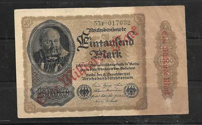GERMANY #113a 1923 1 MILLIARDE ON 1000 MARK VG CIRCULATED OLD BANKNOTE NOTE BILL