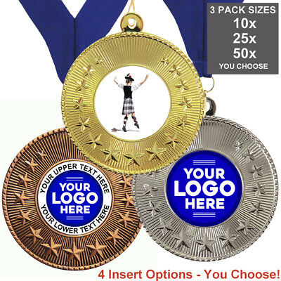 SCOTTISH DANCE MEDALS 50mm, PACK OF 10,RIBBONS, INSERTS or OWN LOGO & TEXT