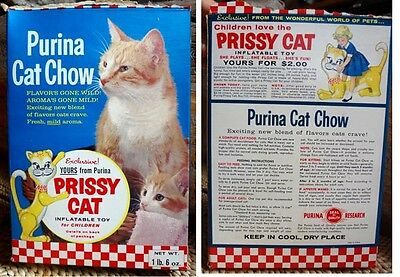 Rare vintage Purina Cat Chow food Box 1964 Prissy infatable Toy offer Cute photo