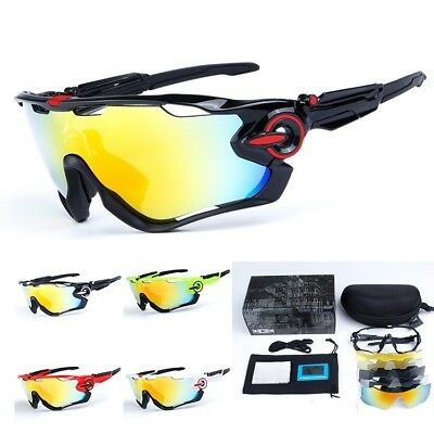 New 5 Pair Lens Polarized UV400 Cycling Bicycle Sunglasses Jawbreaker Goggles