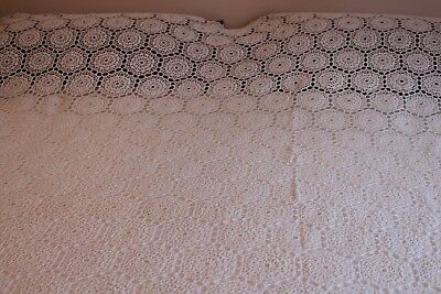 Vintage Huge Hand Crocheted Bed Coverlet Italy 92x116 Gorgeous!