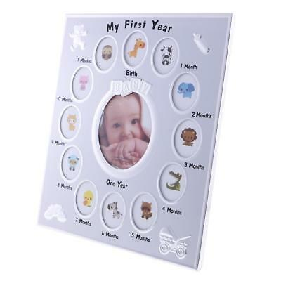 My First Year Baby Photo Frame Baby Shower Memorial Gift 12 Months Silver