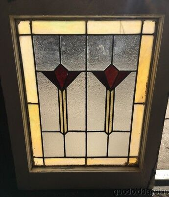 "Antique Art Deco Stained Leaded Glass Window 25"" by 20"" Circa 1925"