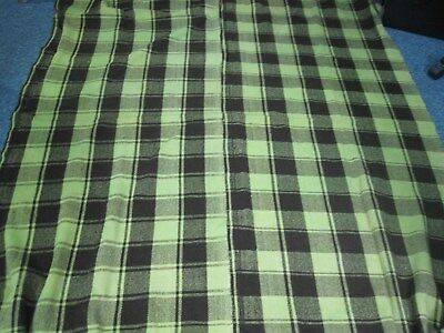 Antq Home Spun 100% Wool Lime Green & Brown Plaid Blanket H/stitched Center Seam