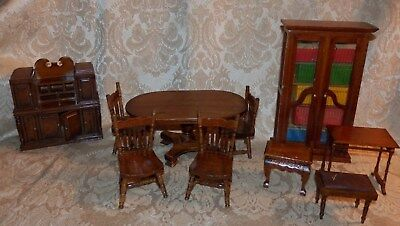 Vtg 10 Pc Lot MINIATURE DOLLHOUSE Wood FURNITURE Table Chairs Bookcase Credenza