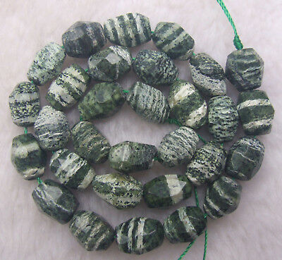 10x14mm Natural Green Zebra Jasper Faceted Freeform Loose Beads 15.5""