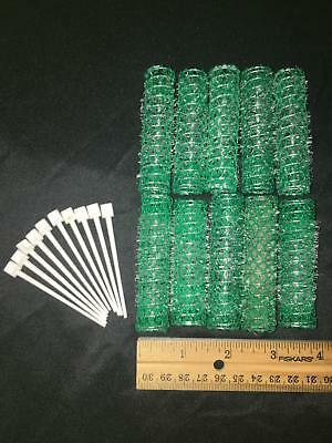 "Lot 10 old style brush spring mesh hair curlers rollers pins 5/8"" vintage green"