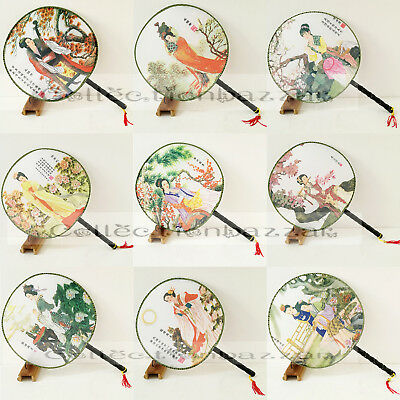 12pcs Summer Oriental Chinese Silk Figure Paddle Dancing Hand Fans Mixed Pattern
