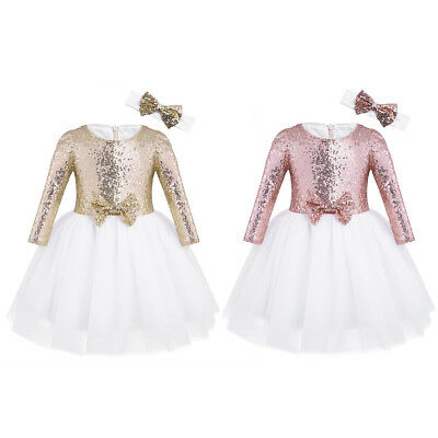 Flower Girls Dresses Toddlers Sequin Party Dress Tutu Prom Pageant Dresses Gown