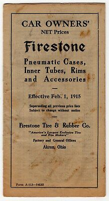 1915 Vintage Tire Booklet: Firestone Pneumatic Cases, Inner Tubes, Accessories +