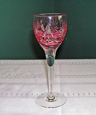 Vintage Belgium/german/czech Rose (Pink) Cased Glass Cut To Clear Wine Hock