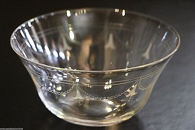 5 x antique English crystal serving bowls 1910 Edwardian engraved dishes glass
