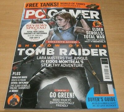 PC Gamer magazine #318 Jun 2018 Shadow of the Tomb Raider + Elder Scrolls & more