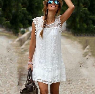 New Style Women Tassel White Lace Sexy Crochet Lace Tops Sleeveless Dresse