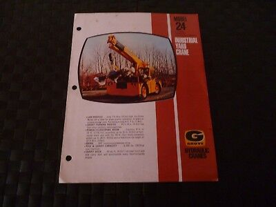 Grove Hydraulic Cranes Model 24 Industrial Yard Leaflet/brochure *as Pictures