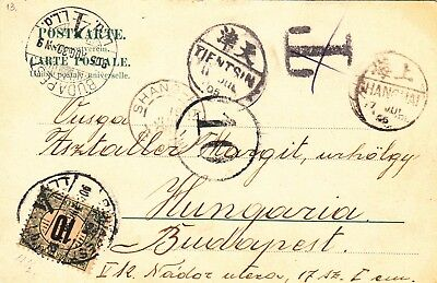 CHINA TIENTSIN via SHANGHAI 1905 Dragon Cover PC Postage Due to Budapest Hungary