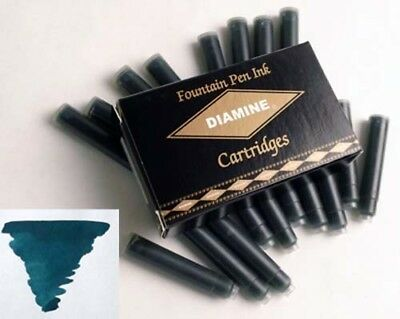 Diamine Teal Ink Cartridge For Fountain Pens 18 Per Package  DM-8052