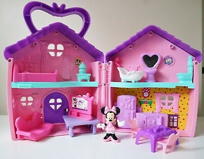 Disney Mattel Minnie Mouse House Playset with Furniture and Figurine