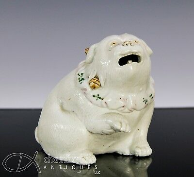 Small Antique Japanese Hirado Porcelain Sculpture Statue Of Seated Dog
