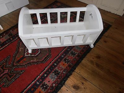 Antique Painted Wooden Baby Rocking Cradle