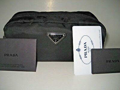 902d52a8372b New PRADA Mens Small Logo Black Nylon Toiletry Kit Travel Case Cosmetic Bag  Gift