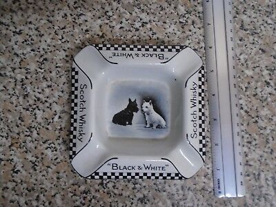 Vintage Black And White Whiskey Ashtray.see Pictures