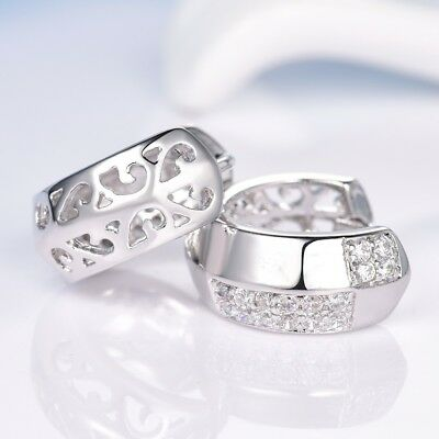 Women Clear Charms Sapphire Rhinestone Crystal White Gold Filled Hoop Earrings