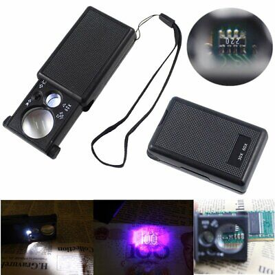 Mini 30X 60X Magnifier Coin Jewelers Watch Eye Loupe Loop With LED UV Lights