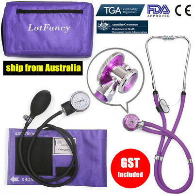 Aneroid Sphygmomanometer Stethoscope Manual Blood Pressure Cuff Gauge Tester Kit