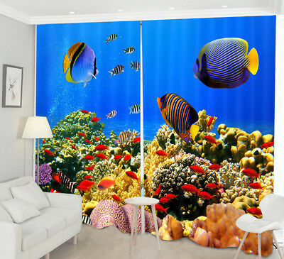 3D Sea Fishes Blockout Photo Print Decor 2 Panels Drapes Fabric Window Curtain