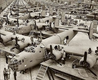 WWII Photo Consolidated B-24 Liberator Assembly Line  WW2 World War Two / 5029